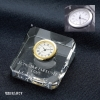 卒業記念品:[クリスタルオーナメント] エコロジー・クリスタル時計オーナメント A/金時計