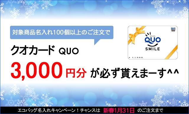 クオカード3000円貰える!冬のエコバッグ名入れキャンペーンのお知らせ